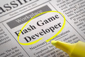 Flash Game Developer Vacancy in Newspaper. — Stock Photo