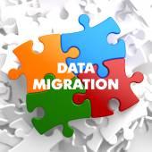 Data Migration on Multicolor Puzzle. — Stock Photo