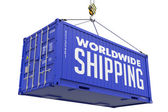 World wide Shipping - Red Hanging Cargo Container. — Stock Photo