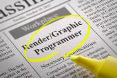 Render, Graphic Programmer Vacancy in Newspaper. — Stock Photo