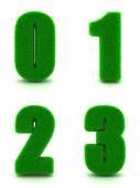 Digits 0, 1, 2, 3 of 3d Green Grass - Set. — Stock Photo
