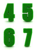 Digits 4, 5, 6, 7 of 3d Green Grass - Set. — Stock Photo