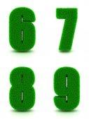 Digits 6, 7, 8, 9 of 3d Green Grass - Set. — Stock Photo