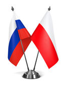 Russia and Poland  - Miniature Flags. — Stock Photo