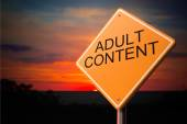 Adult Content on Warning Road Sign. — Stock Photo