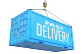 Fast Delivery - Blue Hanging Cargo Container. — Stock Photo