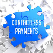 Contactless Payments on Blue Puzzle. — Stock Photo
