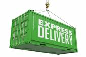 Fast Delivery - Green Hanging Cargo Container. — Foto de Stock