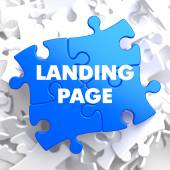 Landing Page on Blue Puzzle. — Stock Photo