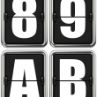 Letters A, B, and Digits 8, 9 on Mechanical Scoreboard. — Stock Photo #60541093