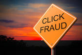 Click Fraud on Warning Road Sign — Stock Photo