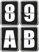 Letters A, B, and Digits 8, 9 on Mechanical Scoreboard. — Stock Photo