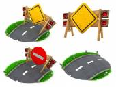 Warning Roadsigns - Set of 3D Illustrations. — 图库照片