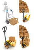 Pallet Truck - Set of 3D Illustrations. — Stock Photo