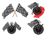 Rice Concept - Checkered Flags with a Stopwatch. — Stock Photo