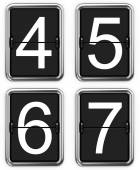 Digits 4, 5, 6, 7 on Mechanical Scoreboard. — Stock Photo