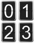 Digits 0, 1, 2, 3 on Mechanical Scoreboard. — Stock Photo