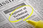 Engineer of Technical Support Vacancy in Newspaper. — Stock Photo