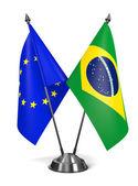 EU and Brazil - Miniature Flags. — Stock Photo