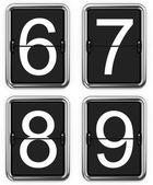 Digits 6, 7, 8, 9 on Mechanical Scoreboard. — Stock Photo