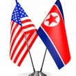 USA and North Korea - Miniature Flags. — Stockfoto #62543591