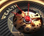 Wealth on Black-Golden Watch Face. — Zdjęcie stockowe