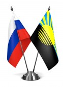 Russia and Donetsk - Miniature Flags. — Stock Photo