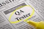 QA Tester Jobs in Newspaper. — Stock Photo