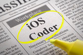 IOS Coder Jobs in Newspaper. — Stock Photo