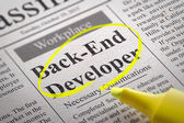 Back-End Developer Vacancy in Newspaper. — Stock Photo