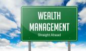 Wealth Management on Highway Signpost. — Stock Photo