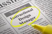 Instructional Design Manager jobb i tidningen. — Stockfoto