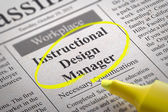 Instructional Design Manager Jobs in Newspaper. — Stock Photo