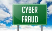 Cyber Fraud on Highway Signpost. — Stockfoto