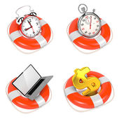 Alarmclock in Lifebuoy on White Background. — Stock Photo