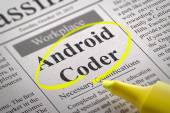 Android Coder Jobs in Newspaper. — Stock Photo