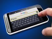Porno in Search String on Smartphone. — Stock Photo