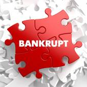 Bankrupt Concept on Red Puzzles. — Stock Photo