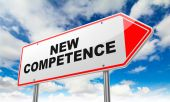New Competence on Red Road Sign. — Stock Photo