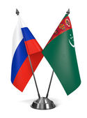 Russia and Turkmenistan - Miniature Flags. — Stock Photo