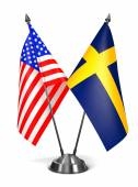USA and Sweden - Miniature Flags. — Stock Photo
