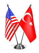USA and Turkey - Miniature Flags. — Stock Photo