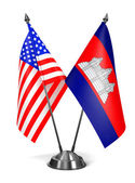 USA and Cambodia - Miniature Flags. — Stock Photo