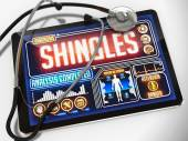 Shingles Diagnosis on the Display of Medical Tablet. — Stock Photo