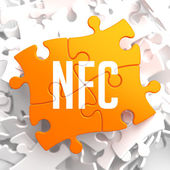 NFC on Yellow Puzzle. — Stock Photo