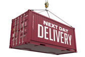 Next Day Delivery - Brown Hanging Cargo Container. — 图库照片