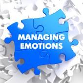 Managing Emotions on Blue Puzzle. — Stock Photo