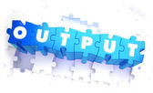 Output - Word in Blue Color on Volume  Puzzle. — Stock Photo
