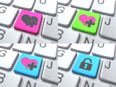 E-Dating Concept - Color Button on Keyboard. — Stock Photo