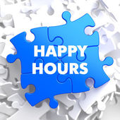 Happy Hours on Blue Puzzle. — 图库照片